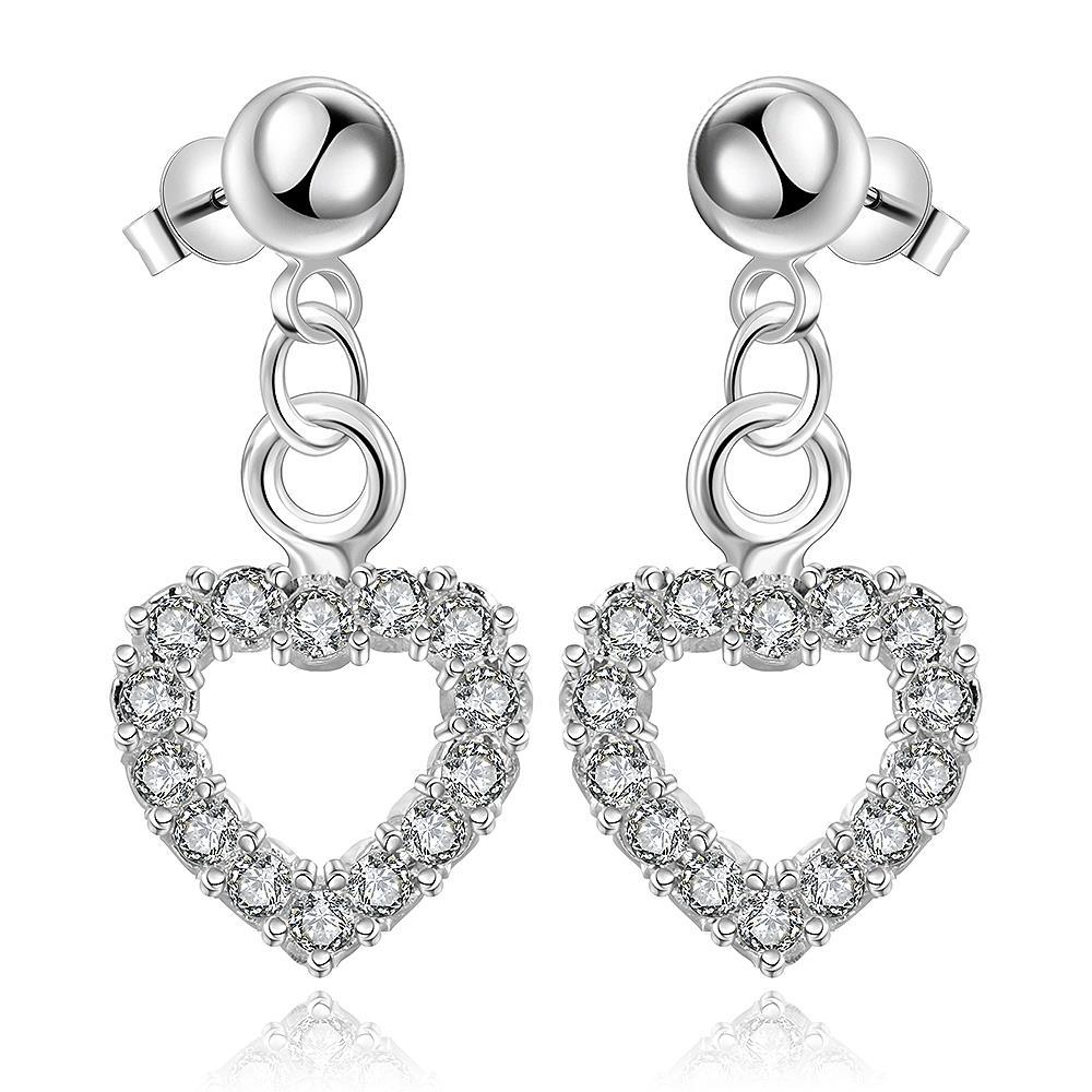 Vienna Jewelry Sterling Silver Hollow Hearts Stones Encrusted Drop Earring