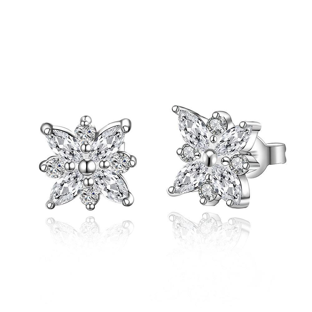 Vienna Jewelry Sterling Silver Snowflake Stones Stud Earring