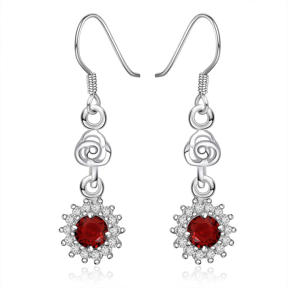 Vienna Jewelry Sterling Silver Ruby Gem Star Stones Drop Earring