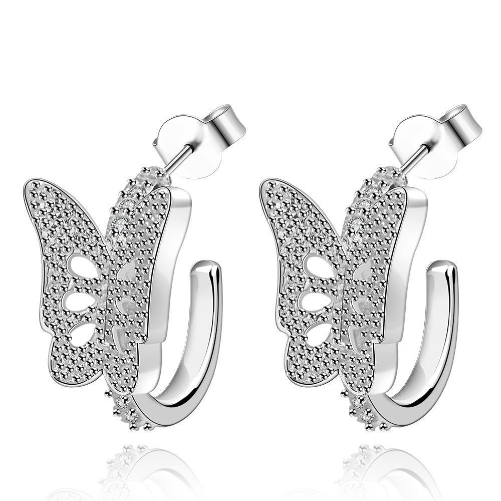Vienna Jewelry Sterling Silver Half Shaped Butterfly Drop Earring