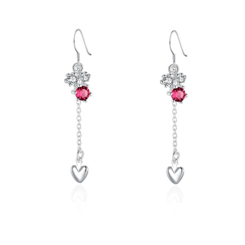Vienna Jewelry Sterling Silver Floral Orchid Ruby Drop Heart Earring