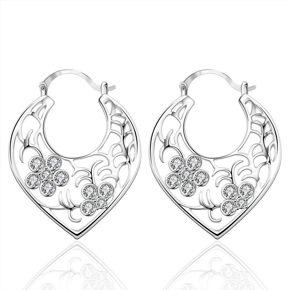 Vienna Jewelry Sterling Silver Crystal Floral Inprint Hoop Earring