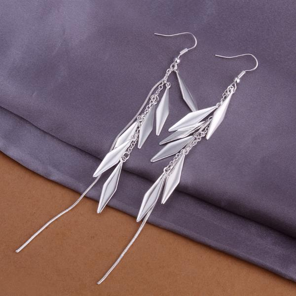 Vienna Jewelry Sterling Silver Drop Plated Leaf Earring