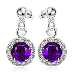 Vienna Jewelry Sterling Silver Circular Purple Citrine Pendant Drop Earring - Thumbnail 0