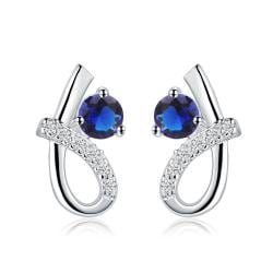 Vienna Jewelry Sterling Silver Curved Sapphire Gem Earring - Thumbnail 0