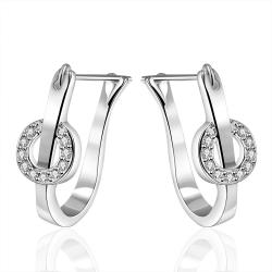 Vienna Jewelry Sterling Silver U Shaped Crystal Hoops - Thumbnail 0