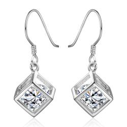 Vienna Jewelry Sterling Silver Rubix Cube Drop Earring - Thumbnail 0