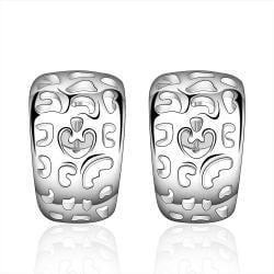 Vienna Jewelry Sterling Silver Laser Cut Design Hoop Earring - Thumbnail 0