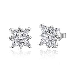 Vienna Jewelry Sterling Silver Snowflake Stones Stud Earring - Thumbnail 0