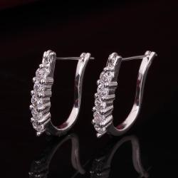 Vienna Jewelry Sterling Silver Hoop Earring with Stones Lining - Thumbnail 0