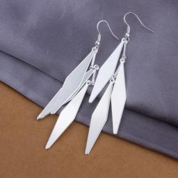 Vienna Jewelry Sterling Silver Drop Diamond Shaped Earring - Thumbnail 0