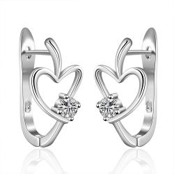 Vienna Jewelry Sterling Silver Abstract Heart Carrying Stone Earring - Thumbnail 0
