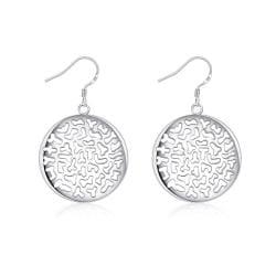 Vienna Jewelry Sterling Silver Laser Cut Circular Emblem Drop Earring - Thumbnail 0