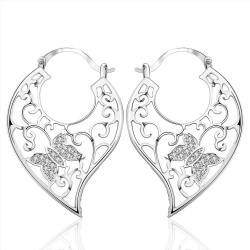 Vienna Jewelry Sterling Silver Crystal Butterfly Hoop Earring - Thumbnail 0