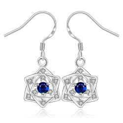 Vienna Jewelry Sterling Silver Sapphire Star Pendant Drop Earring - Thumbnail 0