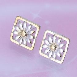 Vienna Jewelry Sterling Silver Daisy Petals Square Shaped Earring - Thumbnail 0