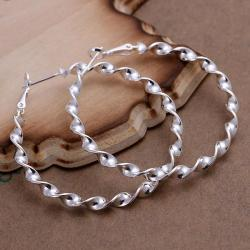 Vienna Jewelry Sterling Silver Curved Wired Hoops - Thumbnail 0