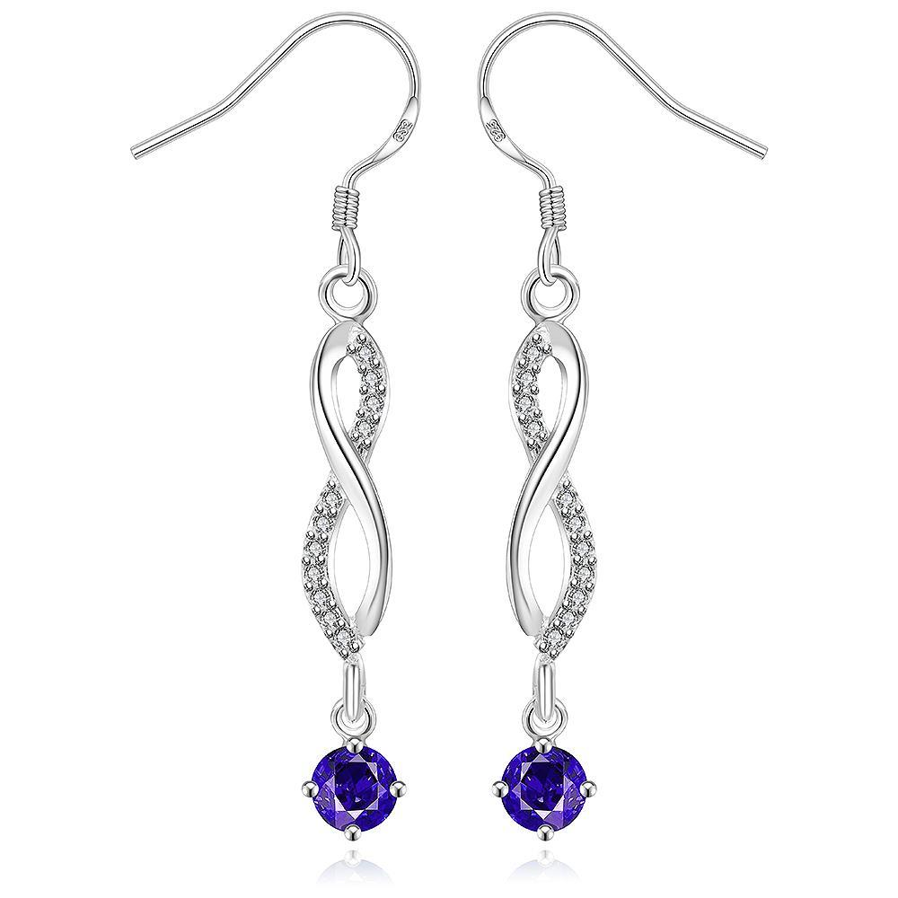 Vienna Jewelry Sterling Silver Thin Line Vertical Drop Sapphire Earring