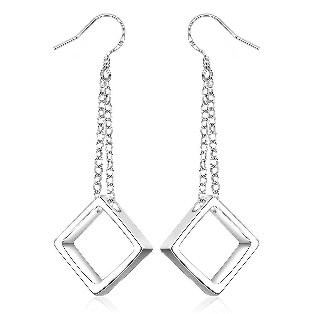 Vienna Jewelry Sterling Silver Drop Hollow Square Shaped Earring