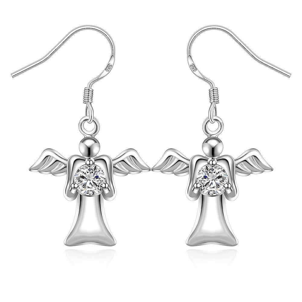 Vienna Jewelry Sterling Silver Flying Angel Drop Earring