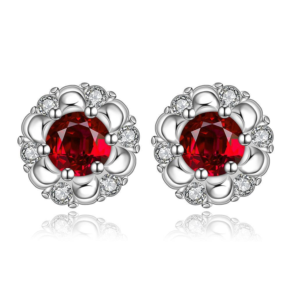 Vienna Jewelry Sterling Silver Ruby Gem Spiral Design Stud Earring