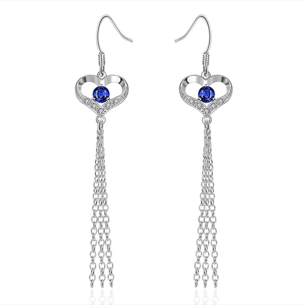 Vienna Jewelry Sterling Silver Sapphire Hollow Heart Drop Earring