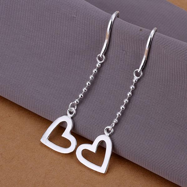 Vienna Jewelry Sterling Silver Drop Hollow Hearts Earring