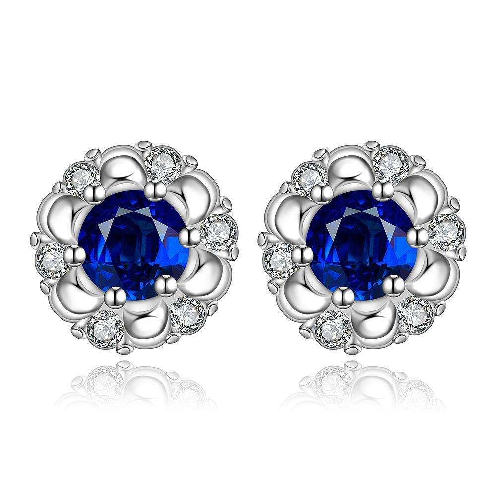 Vienna Jewelry Sterling Silver Sapphire Gem Spiral Design Stud Earring