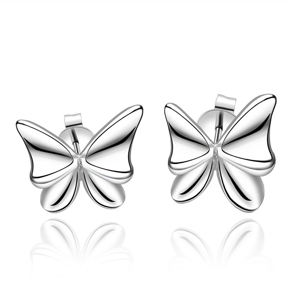 Vienna Jewelry Sterling Silver Petite Flying Butterfly Earring