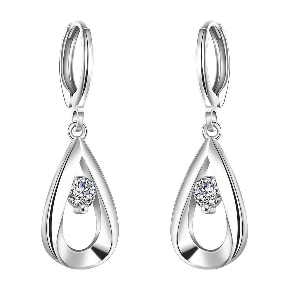 Vienna Jewelry Sterling Silver Curved Metal Crystal Drop Earring
