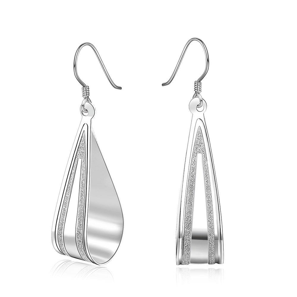 Vienna Jewelry Sterling Silver Angular Curved Stone Lining Hoops