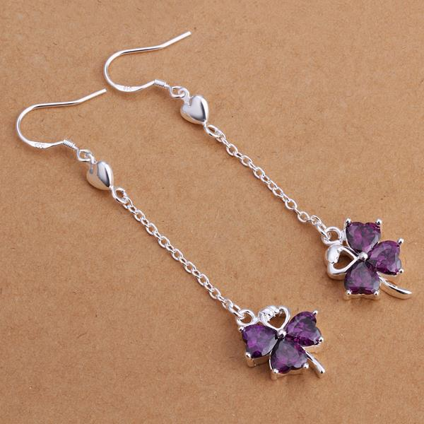 Vienna Jewelry Sterling Silver Purple Citrine Clover Drop Earring