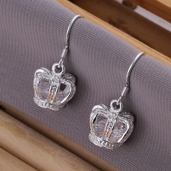 Vienna Jewelry Sterling Silver Crown Shaped Drop Earring
