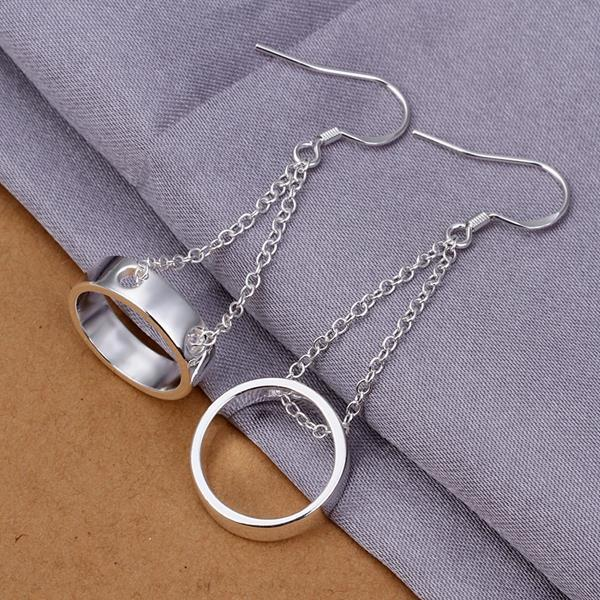 Vienna Jewelry Sterling Silver Drop Hollow Circular Earring