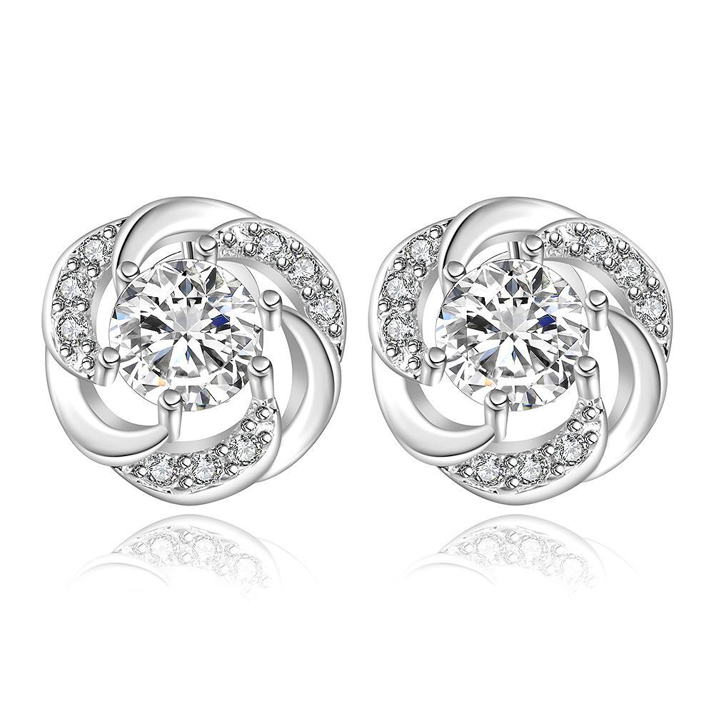 Vienna Jewelry Sterling Silver Curved Circular Crystal Stud Earring