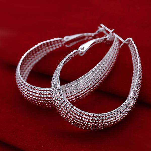 Vienna Jewelry Sterling Silver Beaded Mid-Size Hoops
