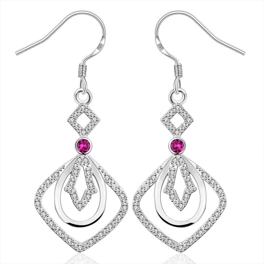 Vienna Jewelry Sterling Silver Drop Drop Square Earring