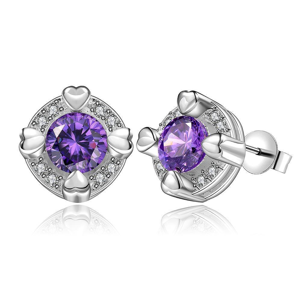 Vienna Jewelry Sterling Silver Purple Citrine Heart Surronding Stud Earring