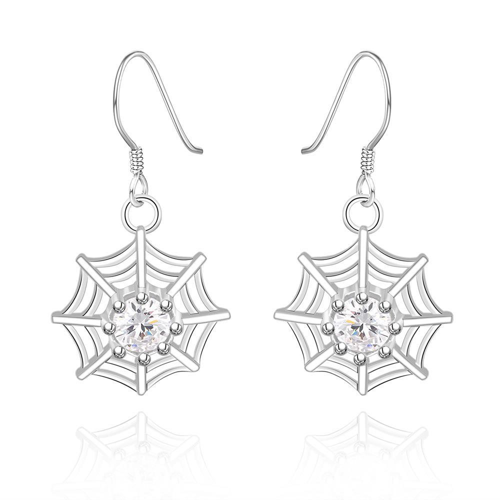 Vienna Jewelry Sterling Silver Spider Web Pendant Drop Earring