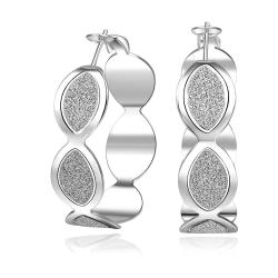 Vienna Jewelry Sterling Silver Circular Surrounded Stones Encrusted Hoop Earring - Thumbnail 0