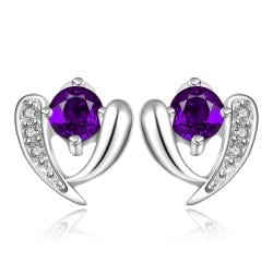 Vienna Jewelry Sterling Silver Purple Citrine Vertical Curved Stud Earring - Thumbnail 0