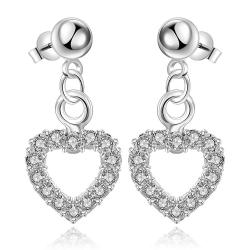 Vienna Jewelry Sterling Silver Hollow Hearts Stones Encrusted Drop Earring - Thumbnail 0