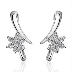 Vienna Jewelry Sterling Silver Linear Crystal Earring - Thumbnail 0