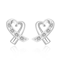 Vienna Jewelry Sterling Silver Infinite Heart Shaped Earring - Thumbnail 0