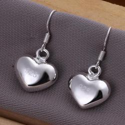 Vienna Jewelry Sterling Silver Heart Shaped Drop Earring - Thumbnail 0