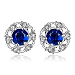 Vienna Jewelry Sterling Silver Sapphire Gem Spiral Design Stud Earring - Thumbnail 0
