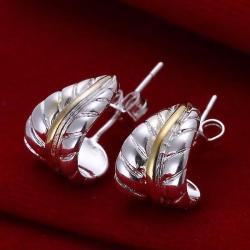Vienna Jewelry Sterling Silver Curved Leaf Branch Earring - Thumbnail 0