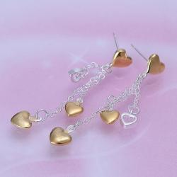 Vienna Jewelry Sterling Silver Multi-Hearts Drop Earring - Thumbnail 0