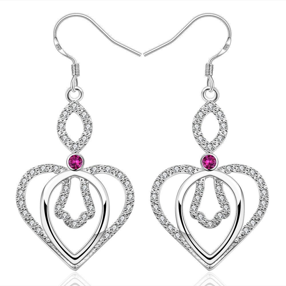 Vienna Jewelry Sterling Silver Drop Purple Citrine Heart Earring