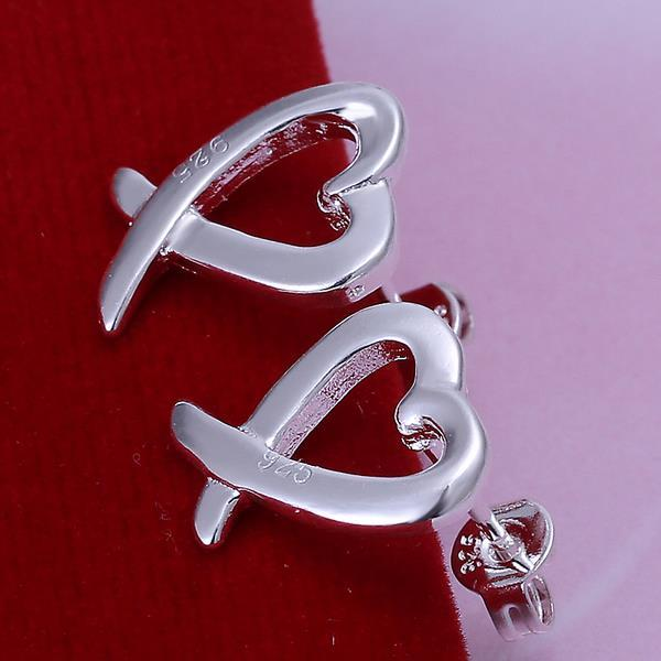 Vienna Jewelry Sterling Silver Abstract Curved Heart Shaped Earring